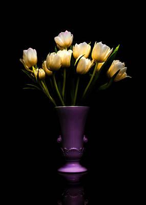 Still Life - White Tulips 2 Art Print by Jon Woodhams