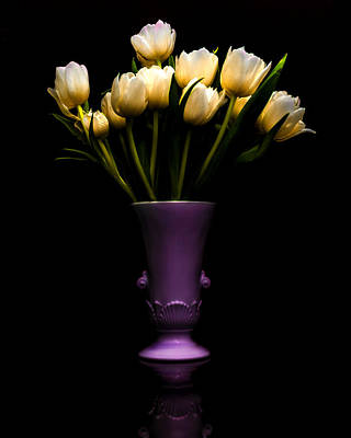 Urn Photograph - Still Life - White Tulips by Jon Woodhams