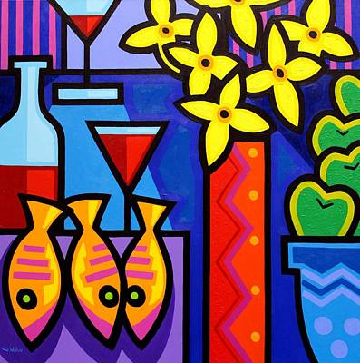 Wine-bottle Painting - Still Life With 3 Fish  by John  Nolan
