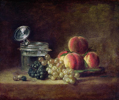 Still Life With A Basket Of Peaches, White And Black Grapes With Cooler And Wineglass, C.1759 Oil Art Print