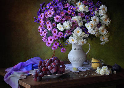 Pear Blossoms Wall Art - Photograph - Still Life With A Bouquet Of Chrysanthemums And Grapes by ??????? ????????