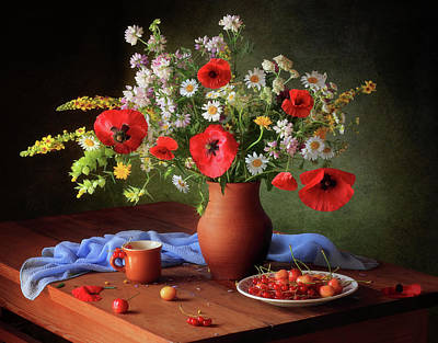 Cherry Flowers Photograph - Still Life With A Bouquet Of Meadow Flowers by ??????????? ??????????