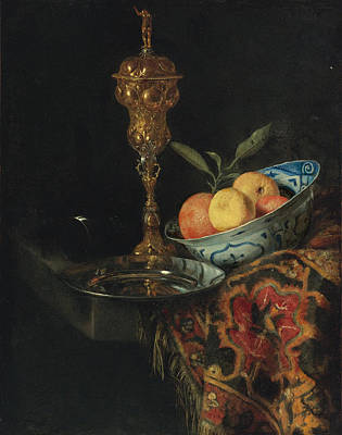 Still Life With A Bowl Of Oranges A Pewter Plate And Gilt Cup Art Print by Christiaen Striep attributed to