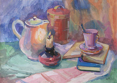 Tableware Painting - Still Life With A Candle by Juliya Zhukova