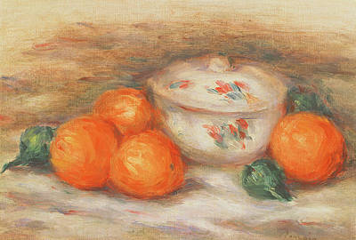 Crockery Painting - Still Life With A Covered Dish And Oranges by Pierre Auguste Renoir