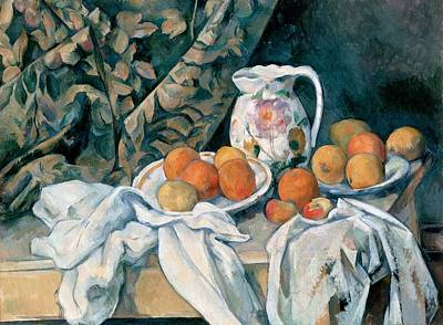 Hermitage Painting - Still Life With A Curtain by Paul Cezanne