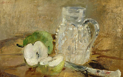 Still Life With A Cut Apple And A Pitcher Art Print