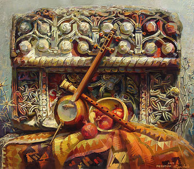 Fragments Painting - Still Life With A Fragment Of Khachkar And Musical Instruments Cross Stone by Meruzhan Khachatryan