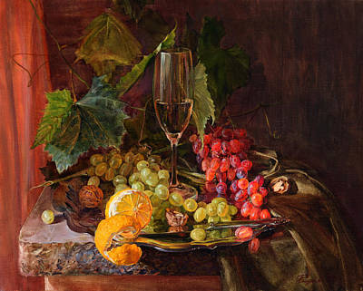 Still-life With A Glass Of Wine And Grapes Art Print