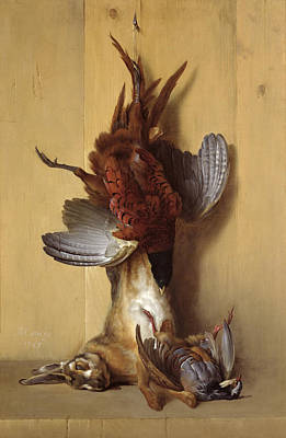 Man Cave Painting - Still Life With A Hare, A Pheasant And A Red Partridge by Jean-Baptiste Oudry