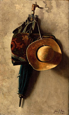 Still Life With A Hat An Umbrella And A Bag Art Print