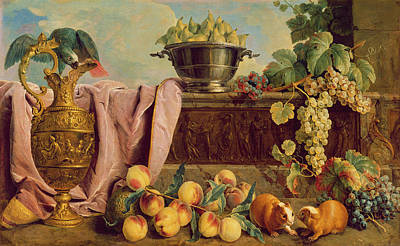 Still Life With A Jug, 1734 Oil On Canvas Art Print