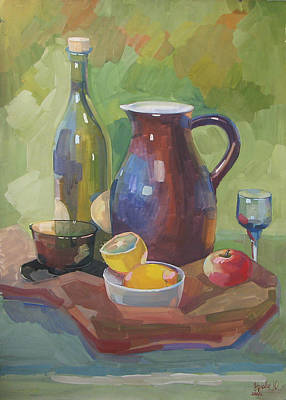 Tableware Painting - Still Life With A Jug And A Lemons by Juliya Zhukova