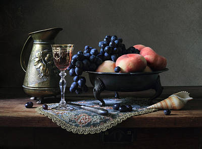 Still Life With A Jug And Fruit And A Shell. Art Print by Helen Tatulyan