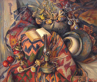 National Painting - Still Life With A Lamp by Meruzhan Khachatryan