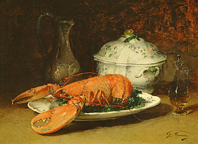 Ceramic Plate Painting - Still Life With A Lobster And A Soup Tureen by Guillaume Romain Fouace