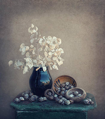 Still Life With A Lunaria And Snails Art Print