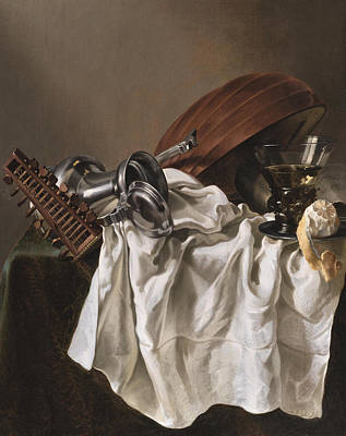 Still Life With A Lute Art Print by Willem van Odekercken