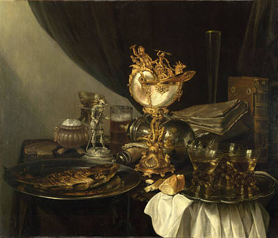 Interior Still Life Painting - Still Life With A Nautilus Cup by Gerrit Willemsz Heda