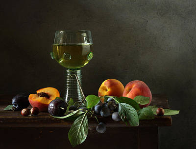 Still Life With A Roamer And Fruit Art Print by Diana Amelina