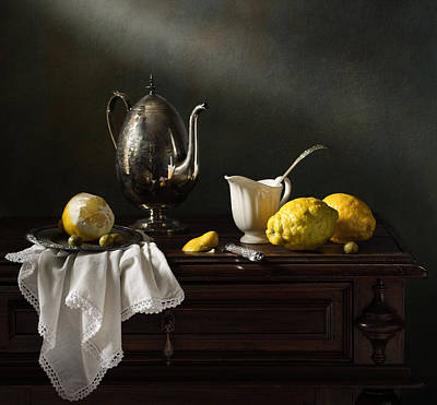 Still Life With A Silver Coffee Pot And Lemons Art Print by Diana Amelina