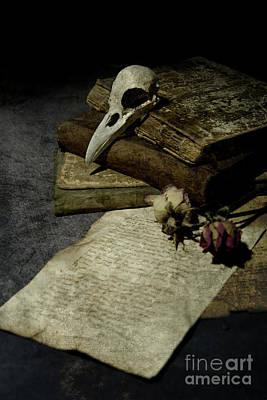 Book Flower Photograph - Still Life With A Skull by Jaroslaw Blaminsky