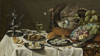 Wine Gallery Art Painting - Still Life With A Turkey Pie by Quint Lox