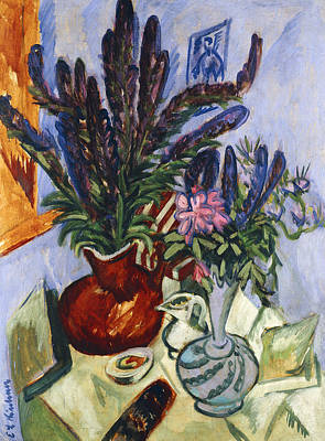 Indoor Painting - Still Life With A Vase Of Flowers by Ernst Ludwig Kirchner