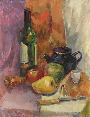 Tableware Painting - Still Life With A Wine Bottle by Juliya Zhukova