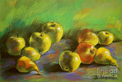 Still Life With Apples And Pears Art Print by Mona Edulesco