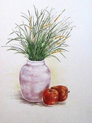 Drawing - Still Life With Apples by Renee Goularte