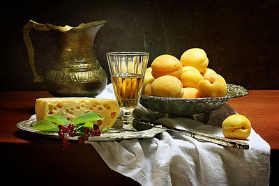Sheet Of Copper Photograph - Still-life With Apricots by Marina Volodko