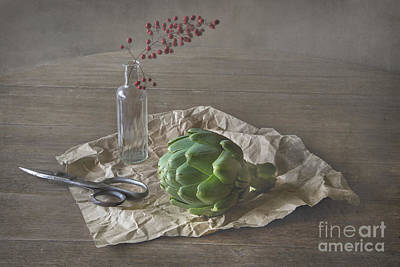 Still Life With Artichoke And Red Berries Art Print by Elena Nosyreva