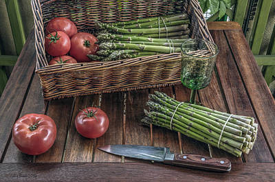 Still Life With Asparagus And Tomatoes Art Print