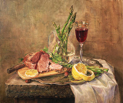 Painting - Still Life With Asparagus by Galina Gladkaya