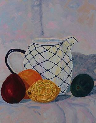 Pear Mixed Media - Still-life With Beaded Lemon by Ann Laase Bailey