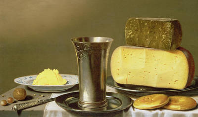 Still Life With Beaker Cheese Butter And Biscuits Art Print