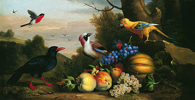Still Life With Birds And Fruits Art Print