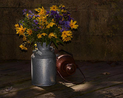 Photograph - Still Life With Blue And Yellow Flowers by Ann Bridges