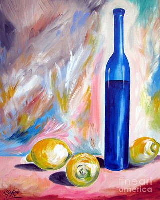 Still Life With Blue Bottle And Three Lemons Art Print