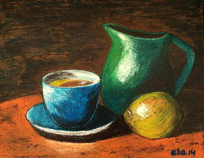 Old Pitcher Painting - Still Life With Blue Tea Cup by Ela Jamosmos