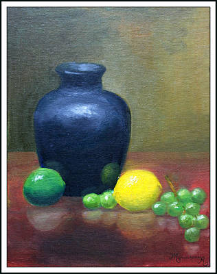 Painting - Still Life With Blue Vase by Mariarosa Rockefeller