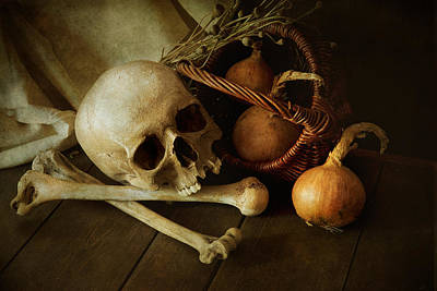 Still Life With Bones And Onions Art Print by Jaroslaw Blaminsky