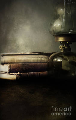 Oil Lamp Photograph - Still Life With Books And The Lamp by Jaroslaw Blaminsky