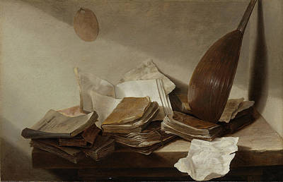 Heem Drawing - Still Life With Books by Litz Collection