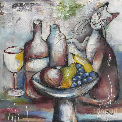 Painting - Still Life With Cat by Jutta Maria Pusl