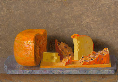 Painting - Still Life With Cheese by Ben Rikken
