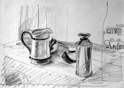 Drawing - Still Life With Creamer by Mark Lunde