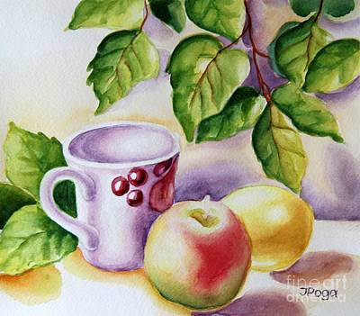 Still Life With Cup And Fruits Art Print by Inese Poga