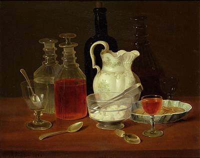 Glass Of Wine Painting - Still Life With Decanters by J Rhodes